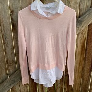 Susina sweater collared blouse combo size small